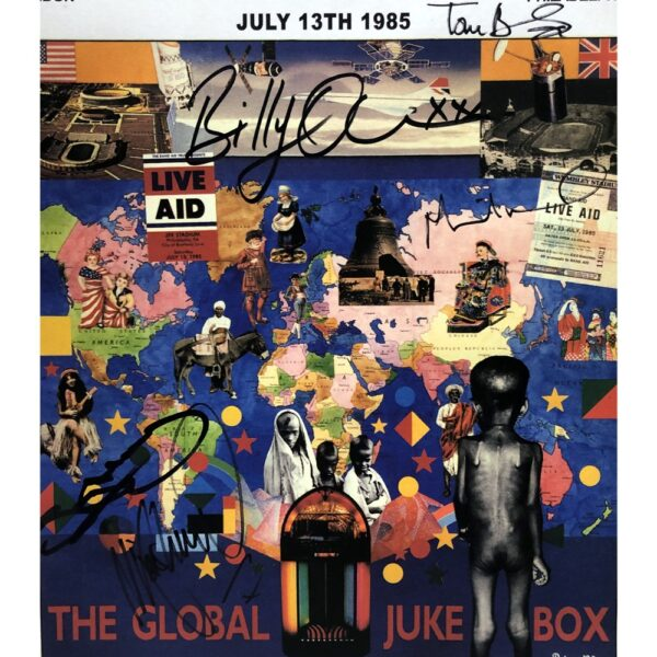 Live Aid 1985 Signed Poster By 5 Original Performers Unframed Tony Hadley
