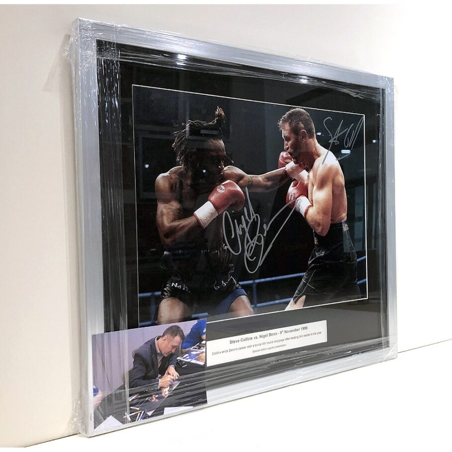 Nigel Benn and Steve Collins signed and framed presentation