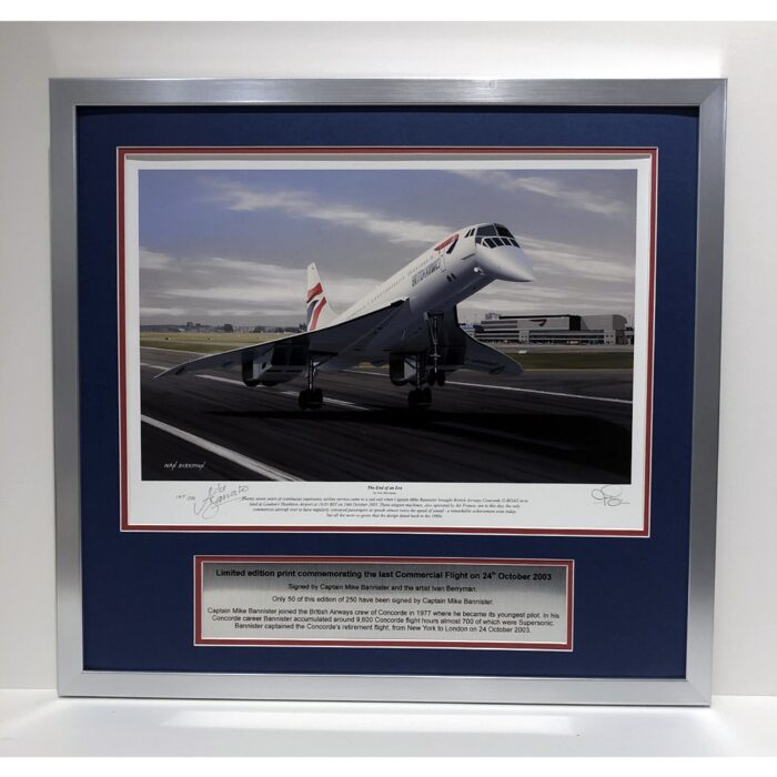 Concorde – End of an era - Limited edition last flight presentation signed by Captain Mike Bannister – framed