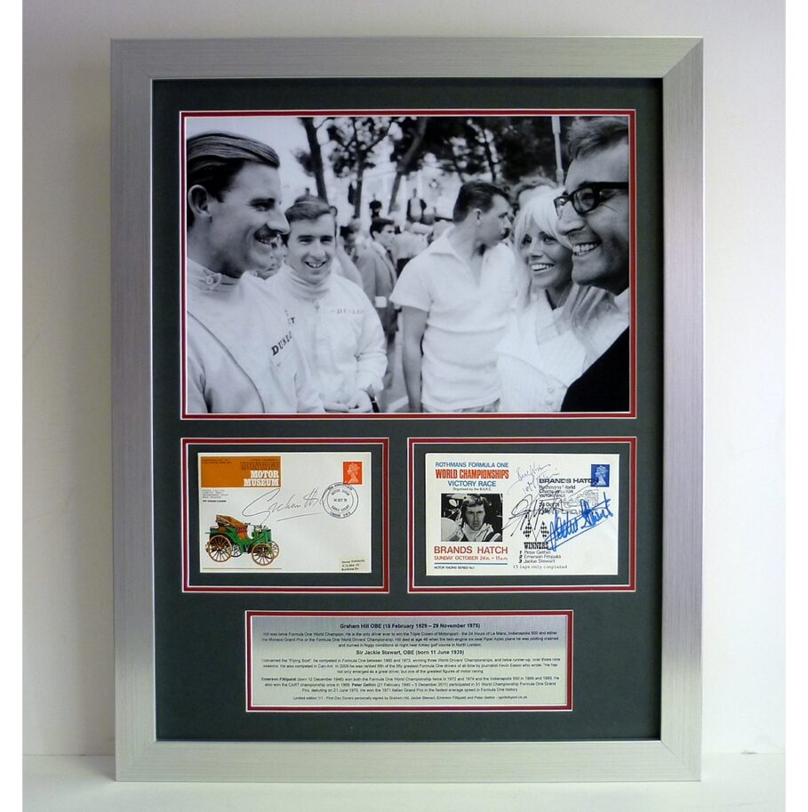 Formula One presentation signed by G Hill, J Stewart, Fittipaldi & Gethin