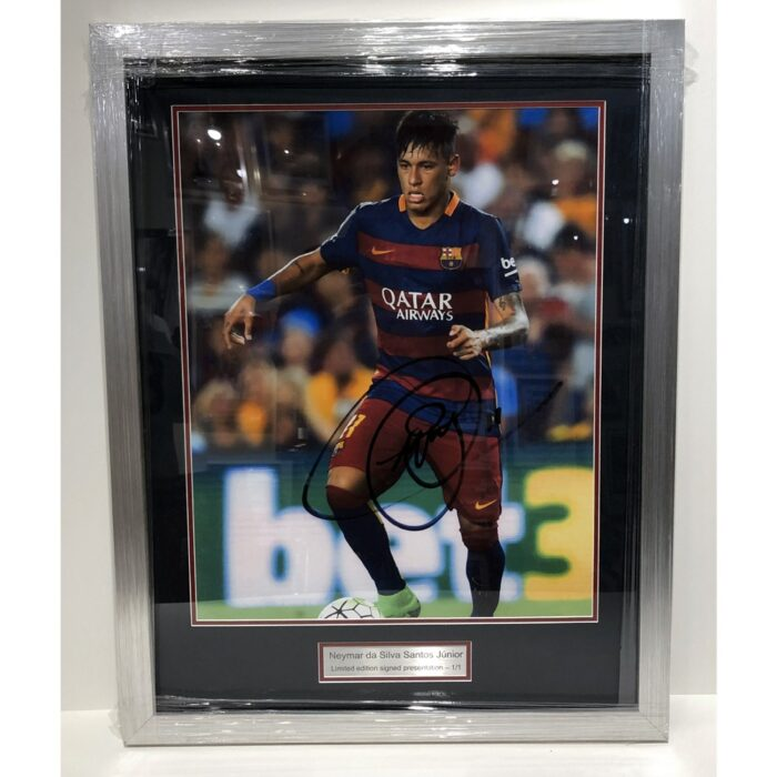 Neymar signed and framed Barcelona Presentation