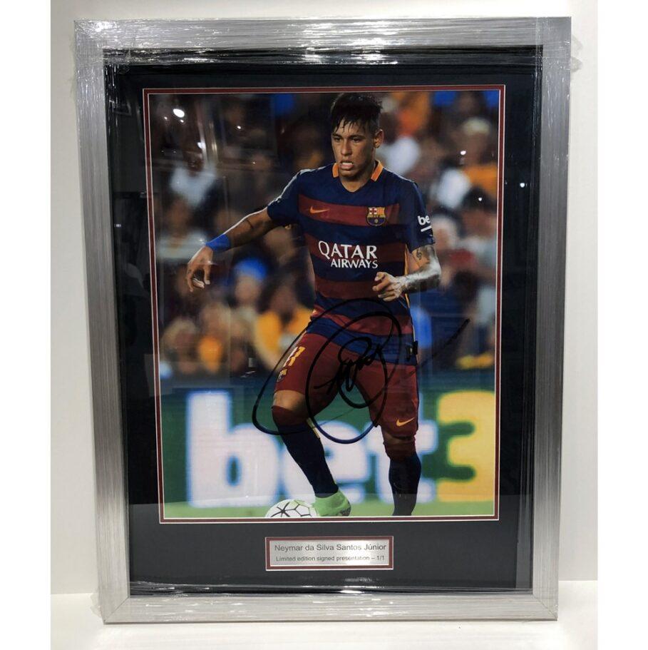 Neymar signed and framed Barcelona Presentation