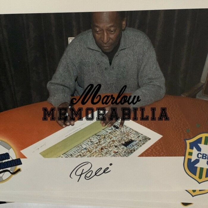 Pele and Banks Dual signed World Cup Photo