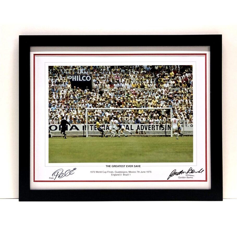 Pele and Gordon Banks signed Photo